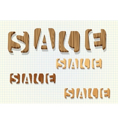 3d wooden sale word vector