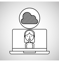 character draw cloud technology social media vector image vector image