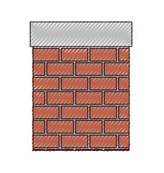 chimney in brick material on color crayon vector image