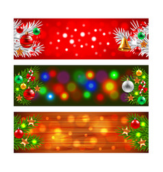 Christmas banners with decorated fir-tree branches vector