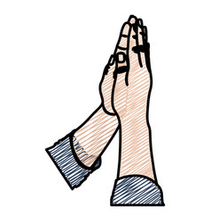 Color pencil drawing of hands in position of pray vector
