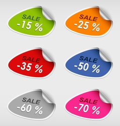 Colorful stickers discsount sale template vector image