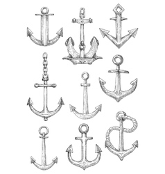 Decorative nautical anchors with chain and rope vector