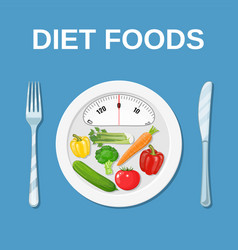 Diet food dieting and nutrition vector