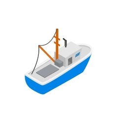 Fishing boat isometric 3d icon vector