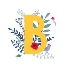 Floral alphabet letter b vector