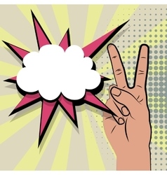 Hand peace sign comic retro pop art vector