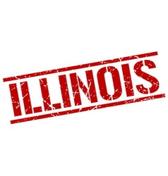 Illinois red square stamp vector image