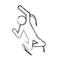 line pictogram man jumping up concept vector image vector image