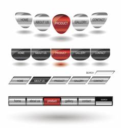metallic editable website buttons vector image vector image