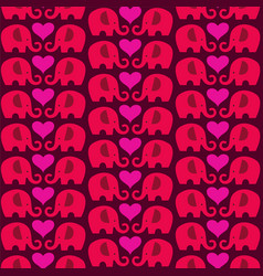Mod elephant valentines day pattern with hearts vector