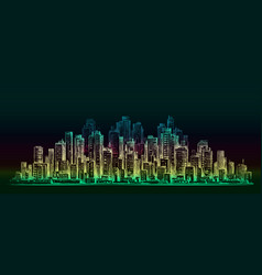 night city background hand drawn vector image vector image