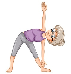 Old lady doing yoga vector image vector image