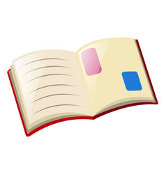 Open book on white background vector
