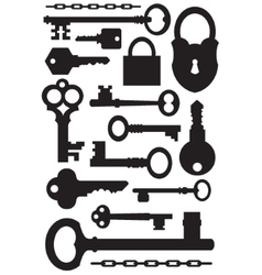 set of keys and padlock silhouettes vector image