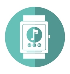 Smartwatch music player app technology shadow vector