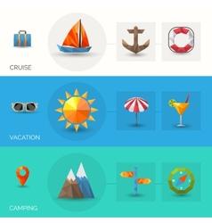 Travel polygonal banners vector