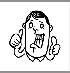 Widely smiling man showing the gesture thumb up vector