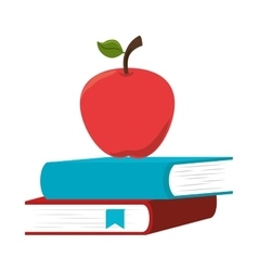 Book school with apple isolated icon vector