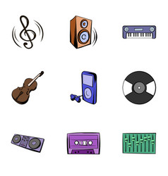 Playing music icons set cartoon style vector