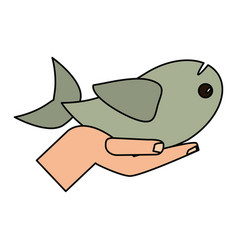 Hand holding fish religious concept vector