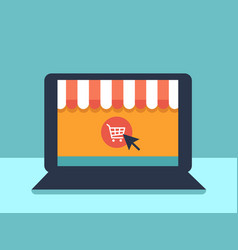 Banner online shopping with laptop vector