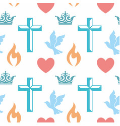 colorful seamless pattern with christian symbols vector image