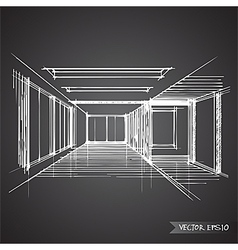 empty room of interior design vector image