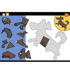 Cartoon dog jigsaw puzzle game vector