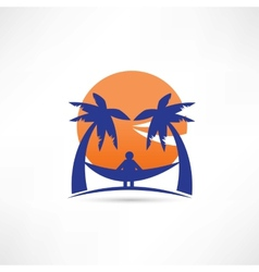Man among the palms icon vector
