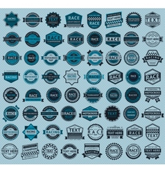 Racing badges - big blue set vintage style vector