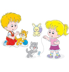 Children play with kittens vector