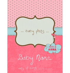 baby arrival card with photo frame in vector image