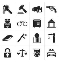 Black law police and crime icons vector
