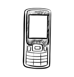 Hand drawn sketch of doodle phone vector