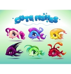 Funny cartoon little fishes set vector image