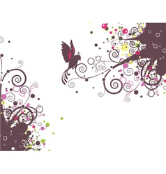 abstract floral with bird vector image
