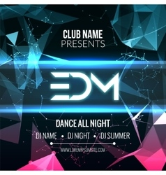 Modern edm music party template dance party flyer vector