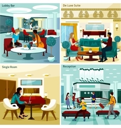 Hotel interior concept icons set vector