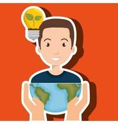 Persons with planet isolated icon design vector