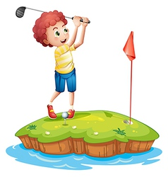 A young man playing golf vector image vector image