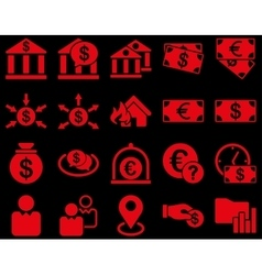 Bank service and trade business icon set vector image