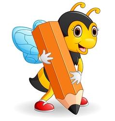 Bee cartoon holding brown pencil vector