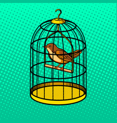 Bird in cage pop art style vector