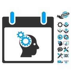 Brain gears calendar day icon with bonus vector