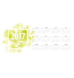 Calendar green 2017 week starts from sunday vector image vector image