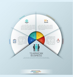 Circular infographic design template with 4 vector