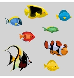 Collection of tropical and deep-sea fish vector image
