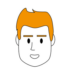 Color silhouette image front face man with vector