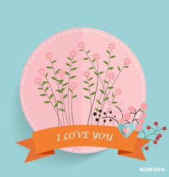 Cute card with ribbon heart and floral bouquets vector image